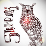 Steampunk style owl. Stock Images