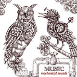 Steampunk style owl. Vector hand drawn mechanical owl. Mechanical sketch animal. Steampunk style owl Stock Images