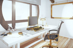 Steampunk style room with vintage typewriter and blank wooden pi Stock Photography