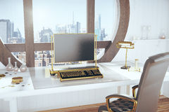 Steampunk style room with vintage typewriter and city view Royalty Free Stock Image