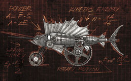 Steampunk style sailfish. Mechanical animal photo compilation Stock Images
