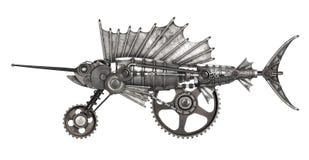 Steampunk style sailfish. Mechanical animal photo compilation Stock Photo