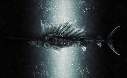 Steampunk style sailfish. Mechanical animal photo compilation Stock Photography