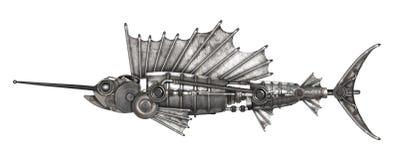 Steampunk style sailfish. Mechanical animal photo compilation Royalty Free Stock Photo