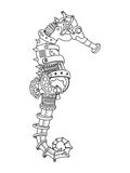 Steampunk style sea horse coloring book vector Royalty Free Stock Images