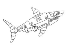 Steampunk style shark coloring book vector Royalty Free Stock Images