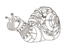 Steampunk style snail coloring book vector Stock Photography