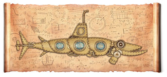 Steampunk style. Submarine Royalty Free Stock Photography