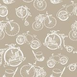 Seamless pattern Steampunk with old bicycle and cylinder hat. Steampunk style. Template steampunk design for card. Frame steampunk background. Seamless pattern Royalty Free Stock Image