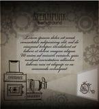 Steampunk background. Victorian era, steampunk style. Steampunk style. Template steampunk design for card. Frame steampunk background. Victorian era, steampunk stock illustration