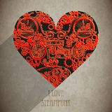 Abstract steampunk hearts. Steampunk style. Royalty Free Stock Images