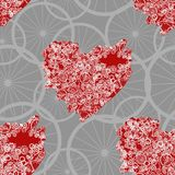 Seamless pattern with abstract steampunk hearts. Steampunk style. Stock Images