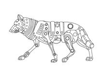 Steampunk style wolf coloring book vector Royalty Free Stock Images