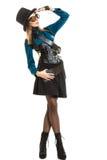 Steampunk stylished девушка в шляпе Стоковое фото RF