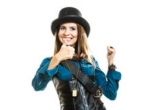 Steampunk stylished girl in hat Royalty Free Stock Image