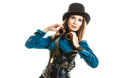 Steampunk stylished girl in hat Stock Photography