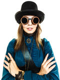 Steampunk stylished a menina no chapéu Fotos de Stock Royalty Free