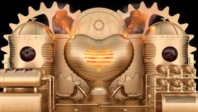 Steampunk stylized machine: the blood enters the reservoir tanks and then burns in the love heart-shaped furnace with explosion. The steampunk stylized machine Stock Photo