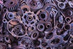 Steampunk textur, backgroung med mekaniska delar, kugghjulhjul arkivbilder