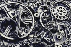 Steampunk textur, backgroung med mekaniska delar, kugghjulhjul arkivfoton