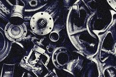 Steampunk texture, backgroung with mechanical parts, gear wheels royalty free stock image