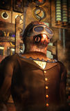 Steampunk time traveller. In 3d Royalty Free Stock Photo