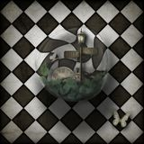Steampunk time warp bubble on chequered background Stock Image