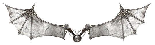 Steampunk traversa il pipistrello volando isolato Fotografia Stock Libera da Diritti