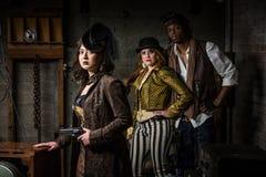 Steampunk Trio with In Retro Lab Stock Image