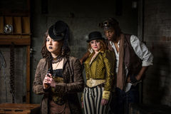 Steampunk Trio with In Retro Lab Royalty Free Stock Photos