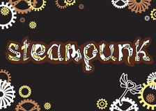 Steampunk Unik hand dragit bokstäverord i steampunkstil Stock Illustrationer