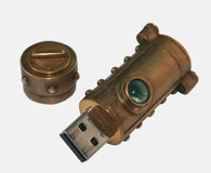 Steampunk USB闪光驱动 库存照片