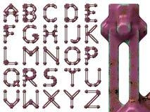 Steampunk utformade skamfilat alfabet Arkivfoto