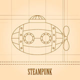 Steampunk vector background. Submarine. Vintage template design for banners, cards. Royalty Free Stock Photos