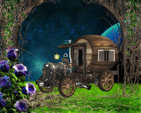 Steampunk vehicle. On fantasy background vector illustration