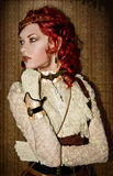 Steampunk Victorian Girl. With red hair and red lips Stock Image