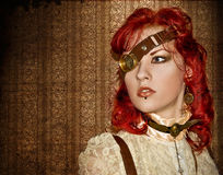 Steampunk Victorian Girl. With red hair and red lips Stock Photo