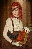 Steampunk Victorianflicka Fotografering för Bildbyråer
