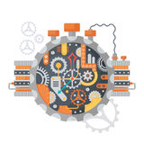 Steampunk vintage Cogs and clock face of watches isolated on white. Vector illustration. Steampunk vintage Cogs and clock face of watches isolated on white Royalty Free Stock Photography