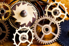 Steampunk vintage cogs gears wheels collection set. Aged clockwork mechanism parts macro view. Different cogwheels teeth Stock Image