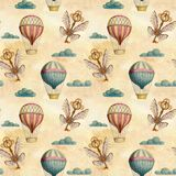 Steampunk vintage seamless pattern with air balloons, clouds, keys, wings