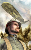 Steampunk war airship and soldier. In 3d Royalty Free Stock Images