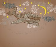 Steampunk whale in night sky vector illustration