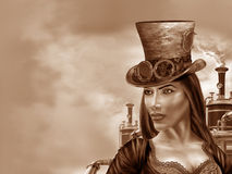 Steampunk Woman. Illustration of a steampunk woman in an industrial motif Stock Photo