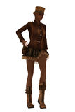 Steampunk woman drawing her gun. Dark skinned female in retro steampunk clothing drawing sidearm from holster Royalty Free Stock Photos