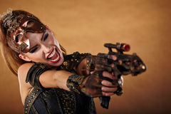 Steampunk woman. Fantasy fashion . Royalty Free Stock Photography