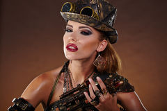 Steampunk woman. Fantasy fashion . Royalty Free Stock Photo