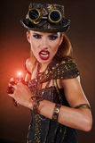 Steampunk woman. Fantasy fashion . royalty free stock images