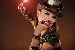Steampunk woman. Fantasy fashion . Royalty Free Stock Image