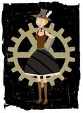 Steampunk woman on gear grunge vector background Stock Photography